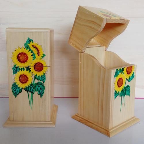Foto Produk Tempat Sendok dan Garpu Berpenutup [Bunga Matahari] dari GS4 Woodcraft