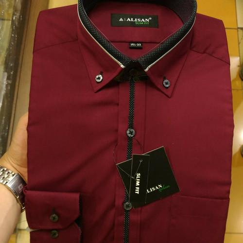 Foto Produk Kemeja Pria Alisan Slimfit Panjang Merah Maroon Abu Tua List Tengah - Maroon, S dari Mega Hero Shirts