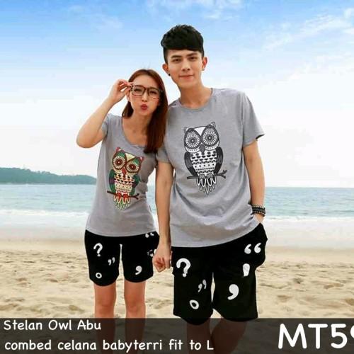 Foto Produk stelan baju couple / setelan kaos couple murah owl - Abu-abu dari 1tanahabangcom