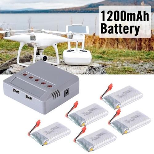 Foto Produk [SX] Lipo Battery 1200mAh 5x Charger Syma X5HW X5HC Drone Quadcopter dari Toko Celica
