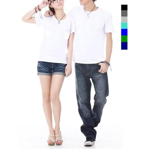 Foto Produk kaos couple polos lengan pendek aju pasangan putih polos couple putih dari Grosir Baju Couple :)
