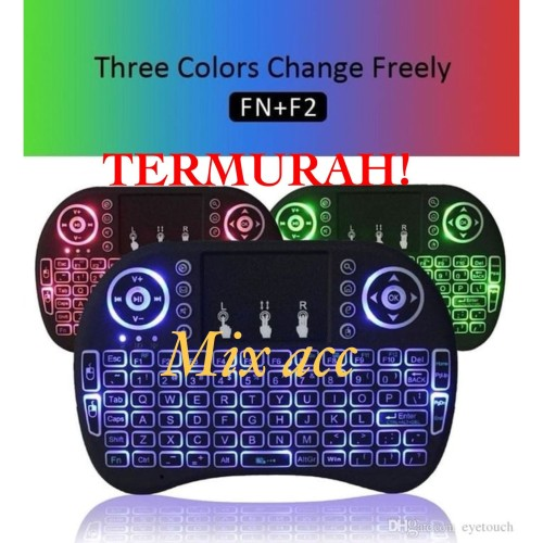 Foto Produk Rii Mini i8 Keyboard Wireless Touchpad RC with 3 COLOR Backlight dari Mix acc88
