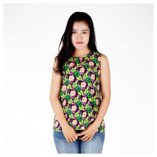 Foto Produk Floral Atasan Blus Wanita Tanpa Lengan Tank Top Floral Bunga-bunga Ung - Ungu, M dari KAMICINTA clothing line
