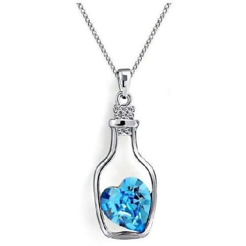Foto Produk Wishing Bottle Pendant Crystal Necklace 925 Sterling Silver / Kalung W dari Rimas Technology