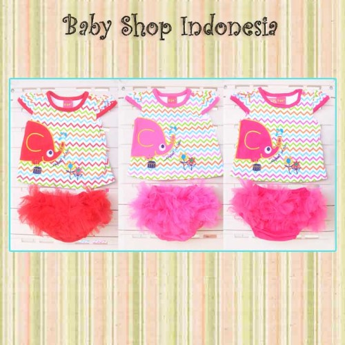 Foto Produk Setelan Baju Celana Rok Tutu Bayi Elephant dari Baby Shop Indonesia BSI