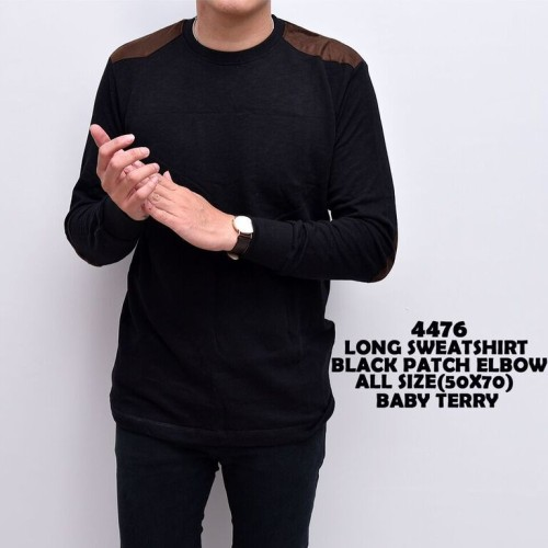 Foto Produk Kaos Lengan Panjang Cowok   Sweater Black Patch Elbow   Sweater Pria dari ALJOSA