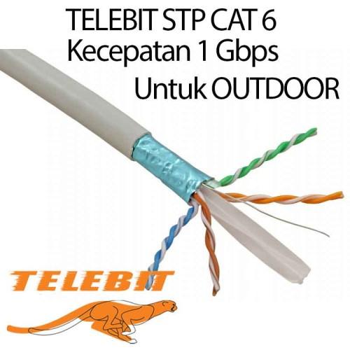 Foto Produk Kabel LAN Telebit STP CAT 6 kecepatan 1 Gbps out door harga meteran dari merakota
