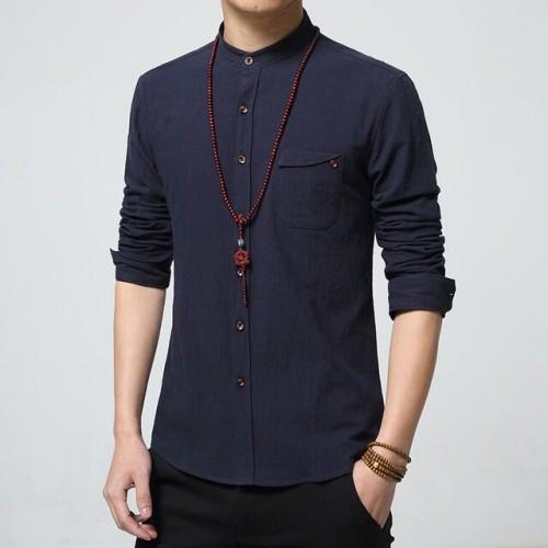Foto Produk Hem Kemeja Pria Lengan Panjang Super Keren, Zyan Style Navy Dongker dari Kemeja Slim Fit