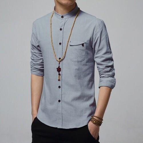 Foto Produk Hem Kemeja Pria Lengan Panjang Super Keren, Hip Rap Zyan Style Gray dari Kemeja Slim Fit
