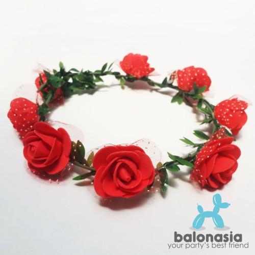 Foto Produk Balonasia Flower Crown / Aksesoris Pesta Mahkota Bunga - Merah dari Balonasia