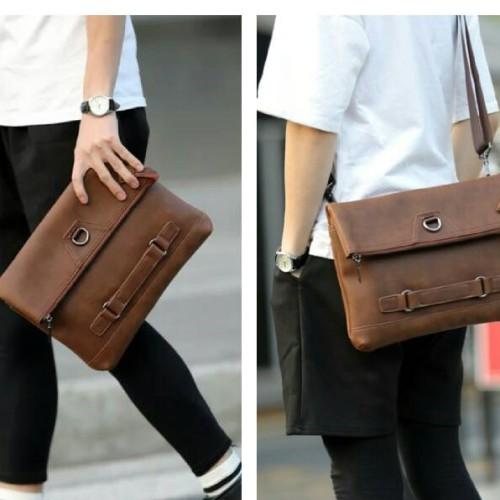 Foto Produk Tas tangan slempang clutch kerja pria wanita selempang handbag kulit dari toko impor unik