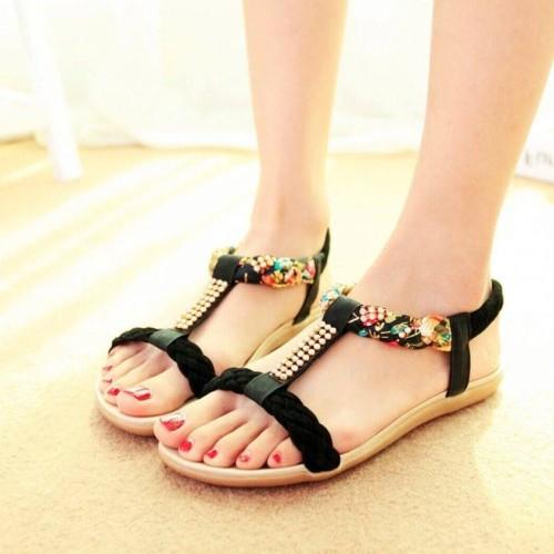 Foto Produk Sandal Wanita Teplek Flat Shoes Kepang Bunga TP21 dari IKHLASIA