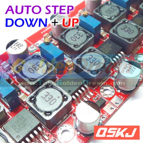 Foto Produk Red QSKJ Auto Buck Boost Step Down + Up XL6009 Converter Solar Aki DC dari Golden Dream