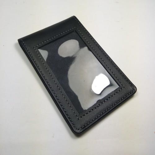 Foto Produk ID card holder kulit asli warna hitam model selip saku magnet dari philo