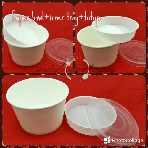 Foto Produk Paper bowl/mangkuk kertas 650ml+inner tray+ttp (25pcs) dari anekafoodpackaging