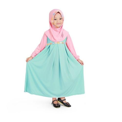 Foto Produk Baju Muslim Gamis Anak Perempuan Warna Mint Peach Lucu Simple dari Grone