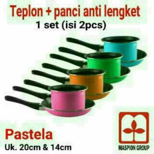 Foto Produk Milkpan Pastela Frypan Set Maspion Teplon Panci Wajan Anti Lengket dari PELANGI15 ACCESORIES