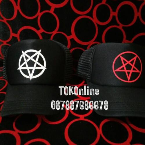 Foto Produk topi trucker pentagram 666 satanic lucifer sablon polyflex korea dari tokonline jakarta