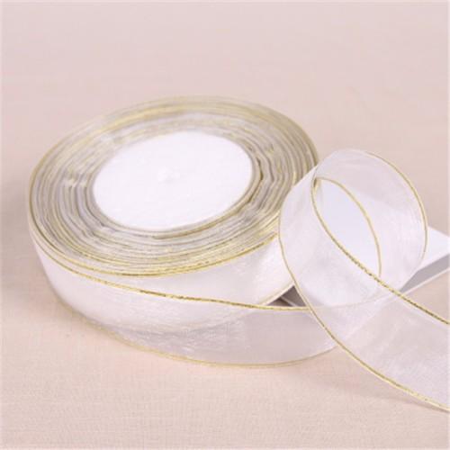 Foto Produk Pita Organdi Lis Emas 1 inch (2,5 cm) Putih dari laris shops