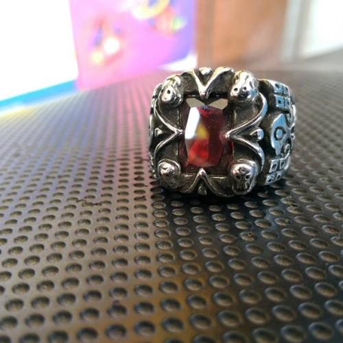 Foto Produk tribal skull ring / cincin tengkorak import batu imitasi dari tokonline jakarta