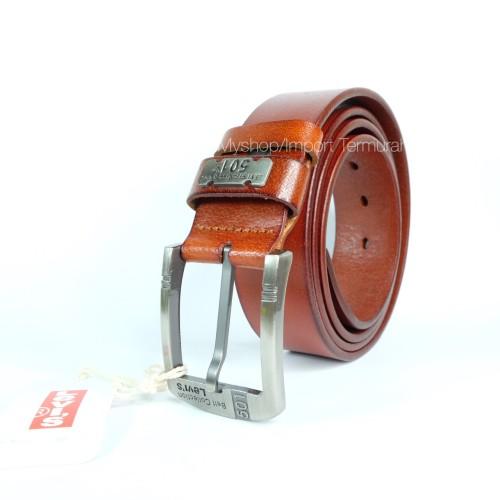 Foto Produk GESPER IKAT PINGGANG KULIT ASLI BRANDED IMPORT LEVIS 501 TP BROWN dari Toko Import Termurah