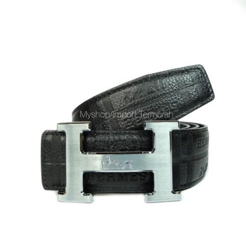 Foto Produk GESPER IKAT PINGGANG KULIT ASLI PRIA IMPORT BRANDED HM 105 BLACK dari Toko Import Termurah