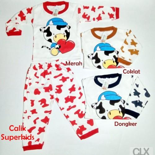 Foto Produk Piyama Anak Baby 2-3Thn Lovely Cow Baju Tidur Setelan Laki Laki Pere dari calix super kids