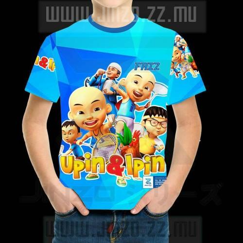 Foto Produk Kaos Anak Upin dan Ipin 3 Biru dengan Nama dari Jinzo Series