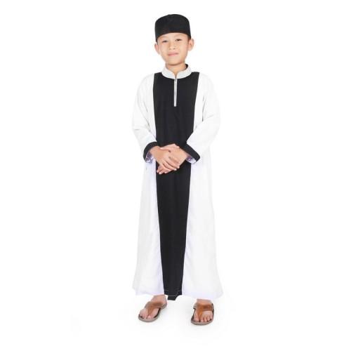 Foto Produk Gamis Koko Anak Laki Laki Cowok Murah Simple - Hitam Putih KGS02 dari Grone