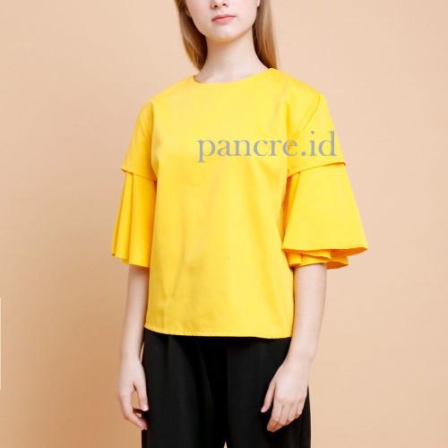 Foto Produk Baju Atasan Blouse Wanita Frill Kuning Self Manufactured dari Pancre Clothing