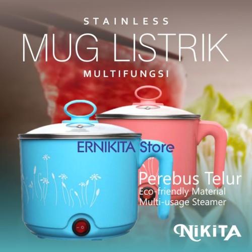 Foto Produk NIKITA MUG LISTRIK Stainless Multiguna + Perebus Telur   FREE BUBBLE dari ERNIKITA Store