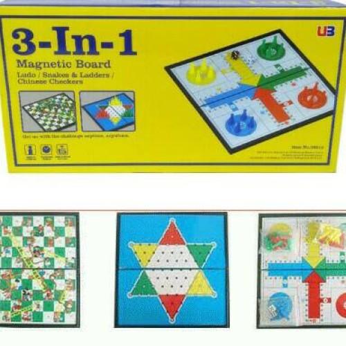 Foto Produk Mainan Anak 3 in 1 Magnetic Board Games ludo Halma snake ladder catur dari Danzel Corner