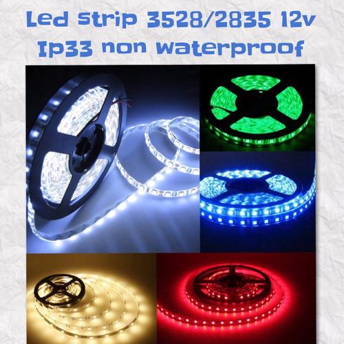 Foto Produk LED STRIP 3528 12V IP33 INDOOR warmwhite putih hijau biru merah kuning - Merah dari GrosirAksesorisFashion