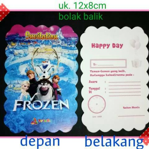 Foto Produk kartu undangan ulang tahun ultah anak karakter frozen dari reanolshoop