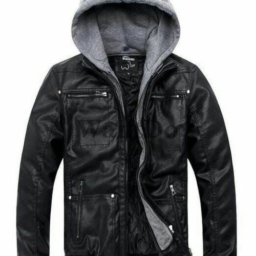 Foto Produk jaket semi kulit topi/jaket ggs/ jaket kulit kupluk/jaket keren - Hitam, M dari jacket semi kulit