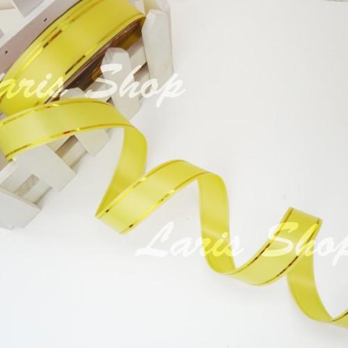 Foto Produk Pita Jepang / Pita Kado 3/4 inch List Emas Kuning dari laris shops