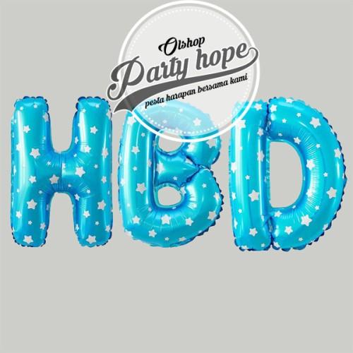 Foto Produk Balon foil huruf biru / balon huruf biru / balon abjad biru dari PARTY HOPE 2