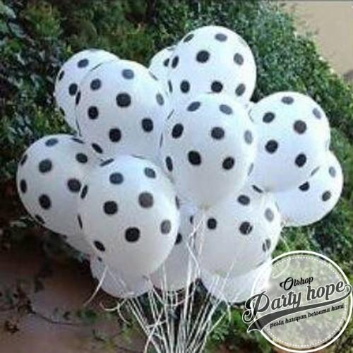 Foto Produk balon latex putih polkasot hitam / balon putih polkadot hitam dari PARTY HOPE 2
