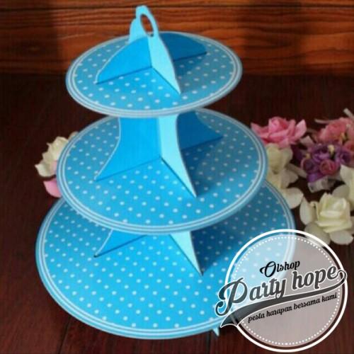 Foto Produk standing cupcake polkadot biru / stand cake polkadot/ 3 tier stand dari PARTY HOPE 2