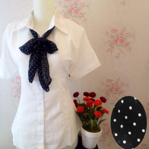 Foto Produk Kemeja blus wanita putih polos zara lembut dasi scarf ceruti pendek dari Orlenachang