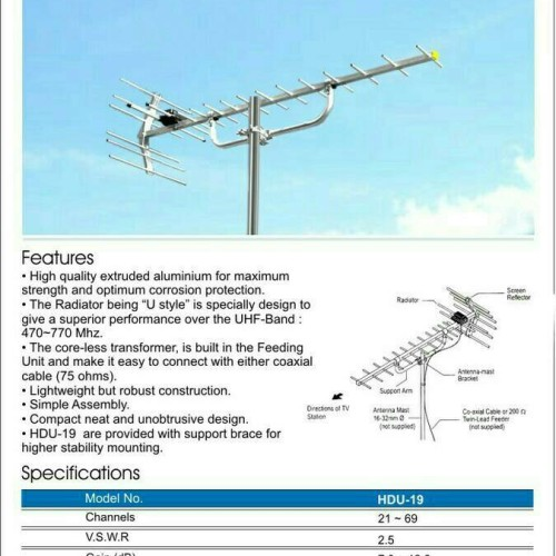 Foto Produk Antena TV Digital / Analog utk TV LCD,LED UHF antena model PF HDU 19 dari tk terang jaya elektrik