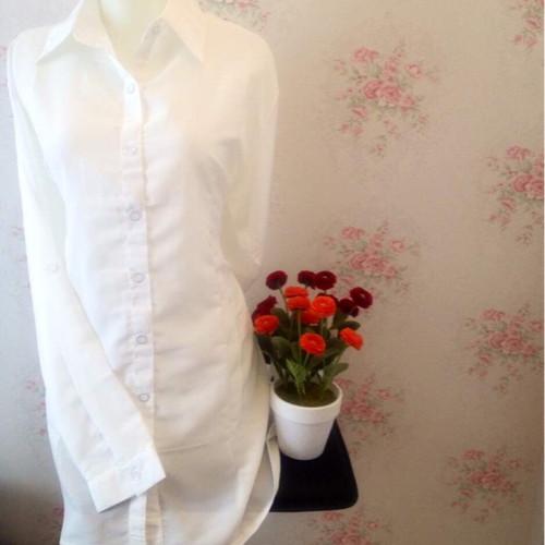 Foto Produk Kemeja blus wanita putih polos zara lembut body panjang dari Orlenachang
