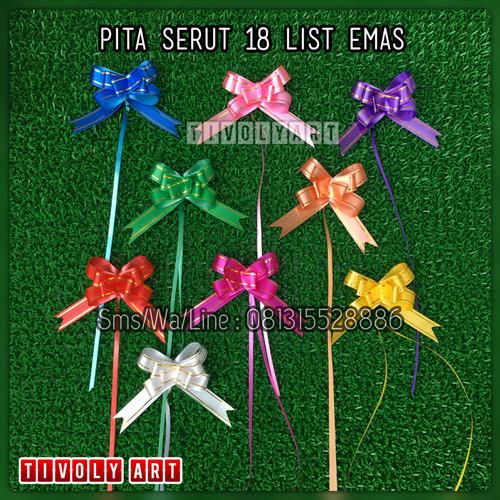 Foto Produk Pita Tarik / Pita Serut 18mm List Emas dari TIVOLY ART