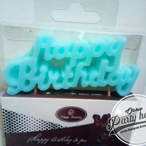 Foto Produk Lilin Happy Birthday Biru / Lilin Hbd / Lilin Ukir / Lilin Ulang Tahun dari PARTY HOPE 2