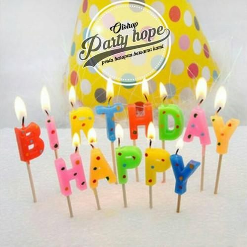 Foto Produk Lilin Happy Birthday Polkadot / Lilin Ultah / Lilin HBD/ Lilin Rainbow dari PARTY HOPE 2