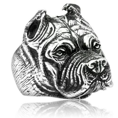 Foto Produk anjing bulldog stainless steel figure skull ring / cincin tengkorak dari tokonline jakarta