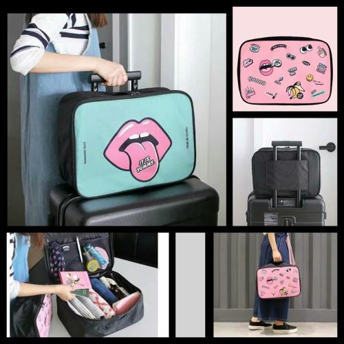 Foto Produk Korean Cute Cartoon Travel Bag [SIZE L] / Handcarry Bag / Tas Koper - PINK dari Nidji Shop
