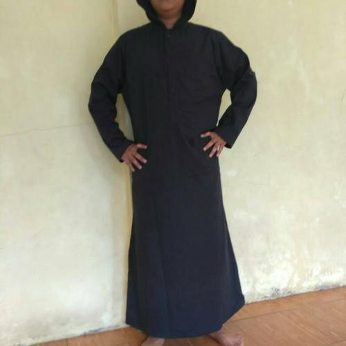 Foto Produk gamis jubah pria hitam kupluk, aamaleeq. dari aamaleeq