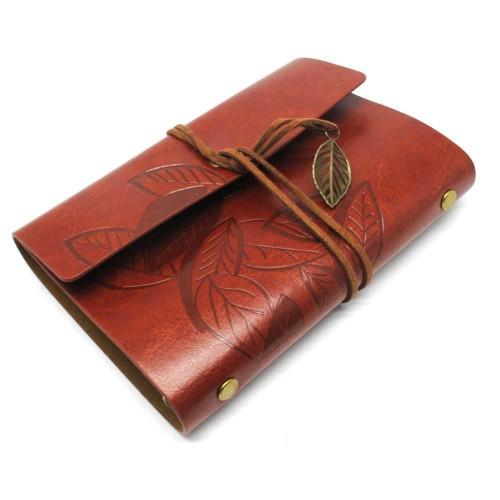 Foto Produk Buku Catatan Binder Kulit Retro Leaf Kertas A6 - Coffee dari Oline Store