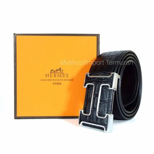 Foto Produk GESPER IKAT PINGGANG KULIT ASLI PRIA COWO IMPORT BRANDED HM 205 BLACK dari Toko Import Termurah